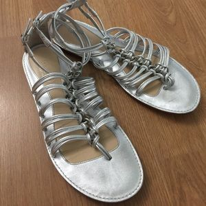 coach gladiator flat sandals silver